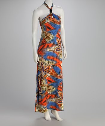 Blue & Orange Paisley Maxi Dress