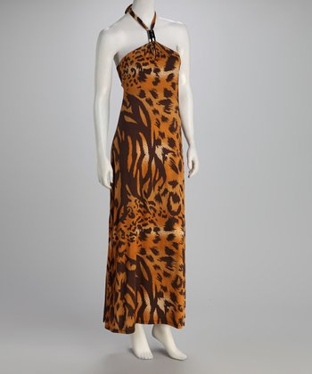 Brown Animal Halter Maxi Dress