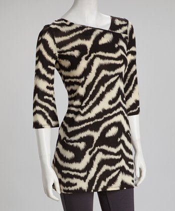 Black Zebra Three-Quarter Sleeve Top