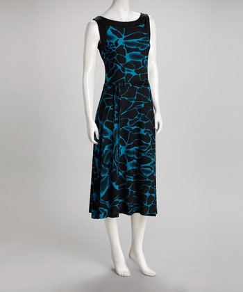 Black & Blue Water Dress