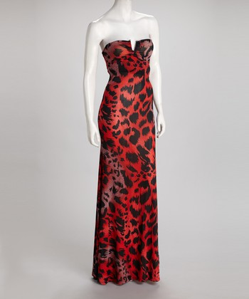Red Cheetah Strapless Maxi Dress