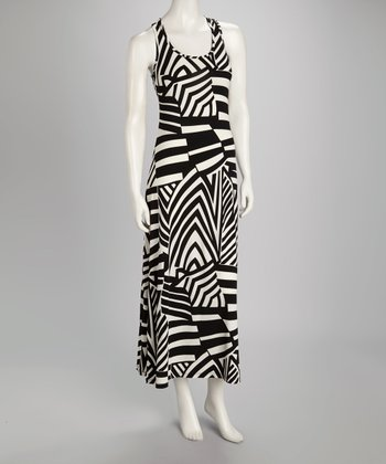 Black & White Stripe Racerback Maxi Dress
