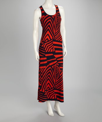Red Stripe Racerback Maxi Dress
