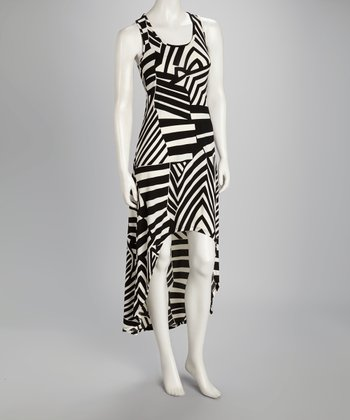 Black & White Stripe Racerback Hi-Low Dress