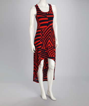 Red Stripe Racerback Hi-Low Dress