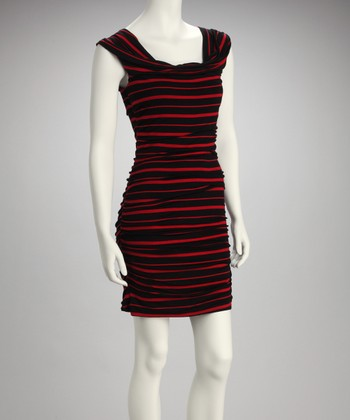 Red & Black Ruched Dress