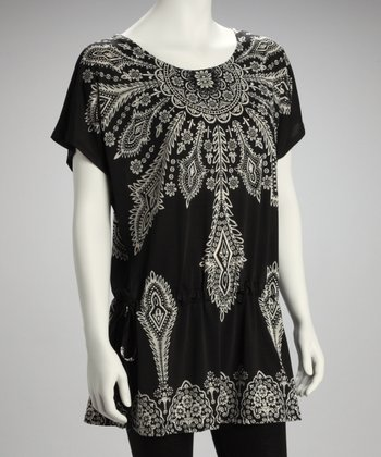 Black Batik Cape-Sleeve Tunic