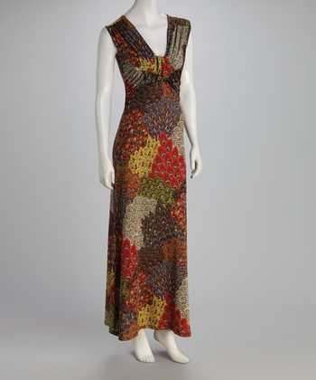 Red & Brown Peacock Maxi Dress