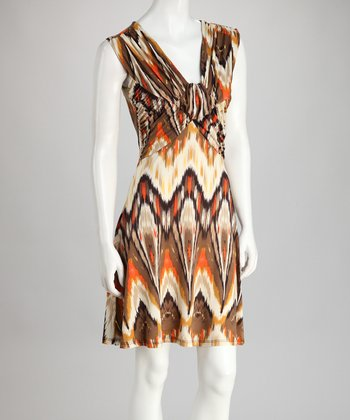 Brown Ruched Sleeveless Dress