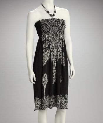 Black Shirred Batik Strapless Dress