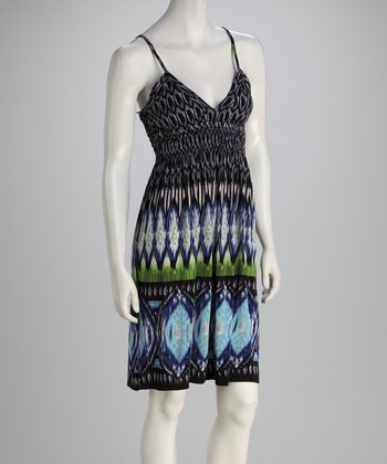 Black & Blue Abstract Surplice Dress
