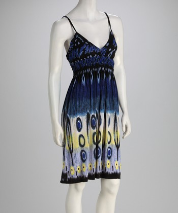 Blue & Yellow Abstract Surplice Dress