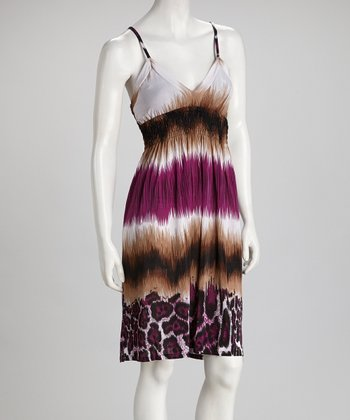 Purple & Brown Surplice Dress