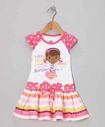 White & Pink Doc McStuffins Dress - Toddler & Girls