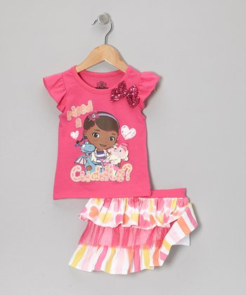 Pink & Yellow Doc McStuffins Tee & Skirt - Toddler & Girls