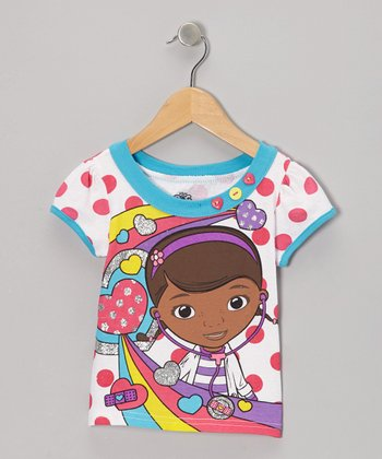 Blue & Pink Polka Dot Doc McStuffins Tee - Toddler & Girls