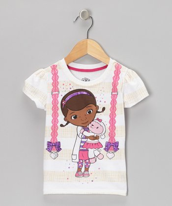 White Glitter Bow Doc McStuffins Tee - Toddler & Girls