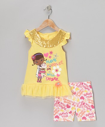 Light Yellow Sequin 'Have Cuddles' Tee & Shorts - Toddler & Girls