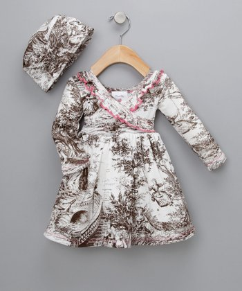 Chocolate Toile Organic Surplice Dress & Beanie - Infant & Toddler