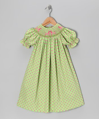 Green & Pink Polka Dot Poodle Bishop Dress - Infant & Toddler