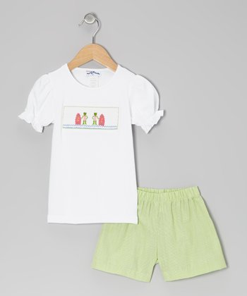 White Surfing Frog Tee & Green Shorts - Infant, Toddler & Girls