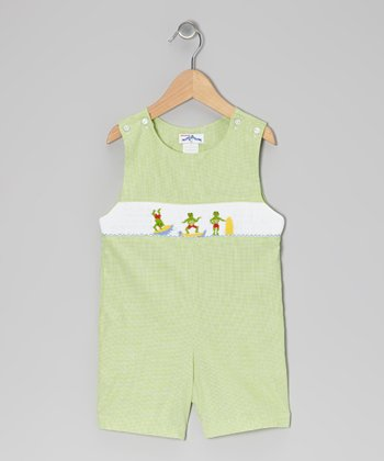 Green Gingham Surfing Frog John Johns - Infant & Toddler