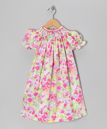 Green & Pink Rose Bishop Dress - Infant & Toddler