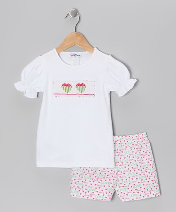 White Heart Smocked Tee & Shorts - Infant