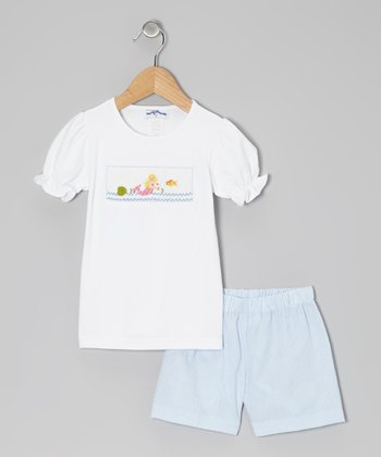White Mermaid Tee & Blue Gingham Shorts - Infant & Girls