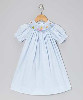 Light Blue Gingham Mermaid Bishop Dress - Infant, Toddler & Girls