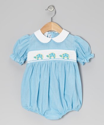 Turquoise Gingham Turtle Smocked Bubble Bodysuit - Infant