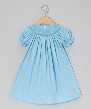 Turquoise Gingham Turtle Bishop Dress - Infant, Toddler & Girls