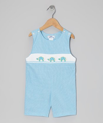 Turquoise Gingham Turtle John Johns - Infant & Toddler