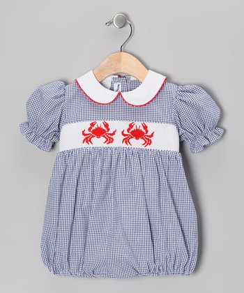 Navy Gingham Smocked Bubble Bodysuit - Infant