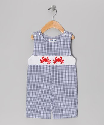 Navy Gingham Crab John Johns - Infant & Toddler