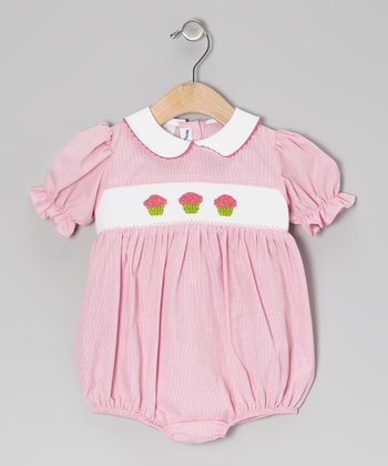 Pink Gingham Cupcake Smocked Bubble Bodysuit - Infant