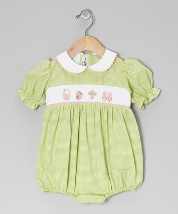 Green Gingham Beach Smocked Bubble Bodysuit - Infant