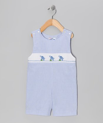 Blue Plaid Elephant John Johns - Infant & Toddler