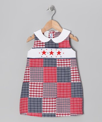 Red Patchwork Star Smocked Dress - Infant & Toddler
