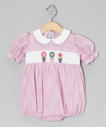 Pink Circle Flowerpot Smocked Bubble Bodysuit - Infant