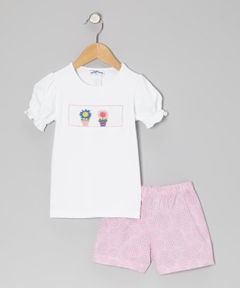 White Flowerpot Tee & Pink Shorts - Infant