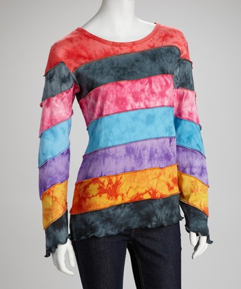 Rainbow Stripe Long-Sleeve Top