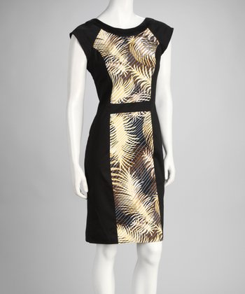 Black Palm Frond Panel Sleeveless Dress