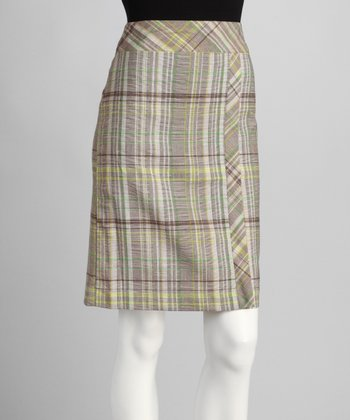 Green & Brown Plaid Skirt