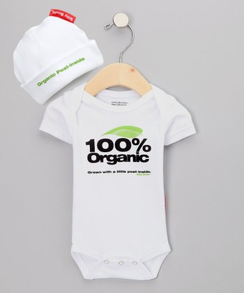 White Organic Pest Bodysuit & Beanie - Infant