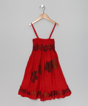 Red Flower Convertible Dress