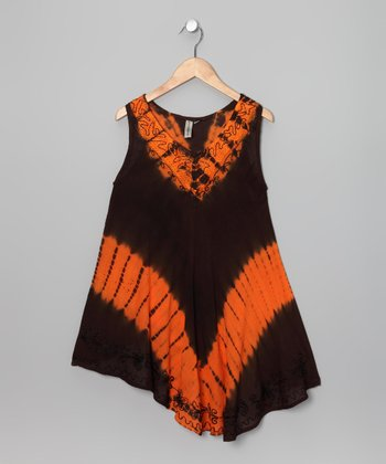 Brown & Orange Tie-Dye Dress