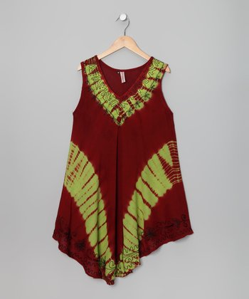 Burgundy & Lime Tie-Dye Dress
