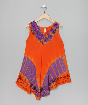 Orange & Purple Tie-Dye Dress