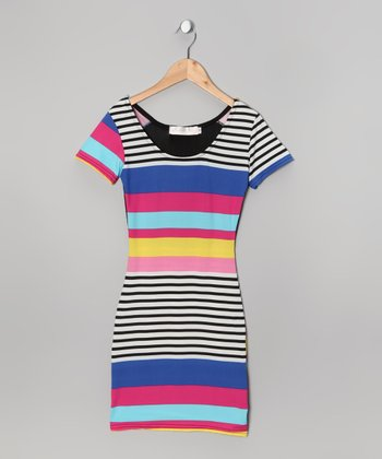 Fuchsia & Black Stripe Mesh-Back Dress